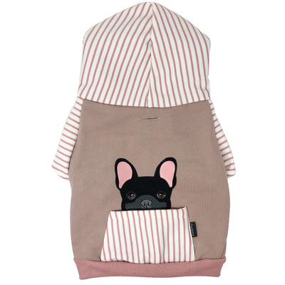 French Bulldog hoodie in pink | Frenchie Clothing | Black Frenchie dog