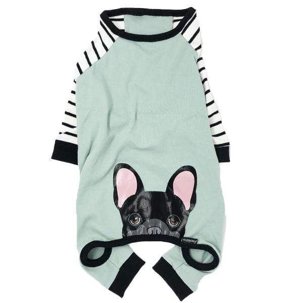 Frenchiestore Frenchie Hunde-Pyjamas mit schwarzem Frenchie auf dem hypoallergenen Bio-Hundepyjama Black Frenchie PJ's
