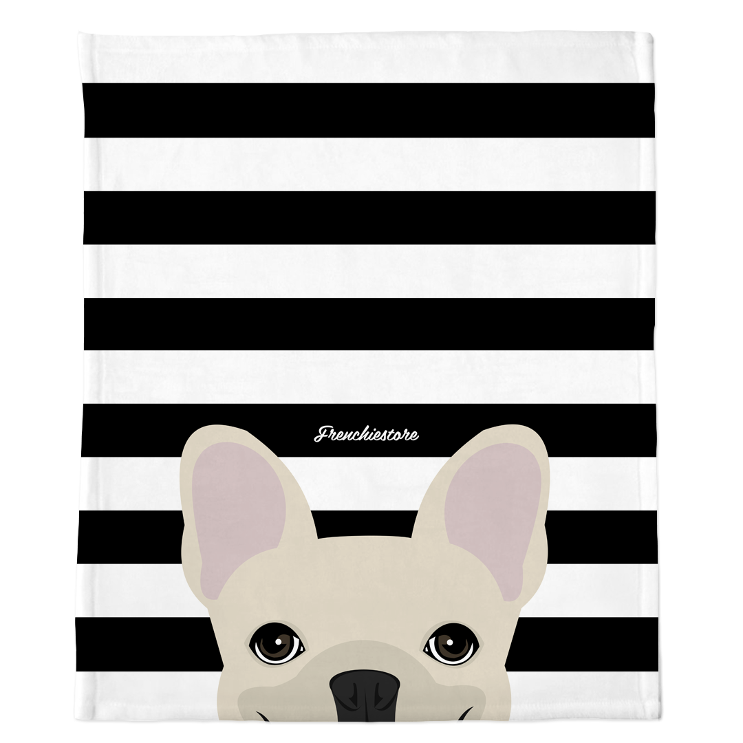 Frenchie Blanket | Frenchiestore | Peeking Cream French Bulldog on Black