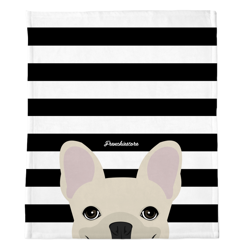 Manta Frenchie | Frenchiestore | Bulldog francés crema a escondidas sobre negro