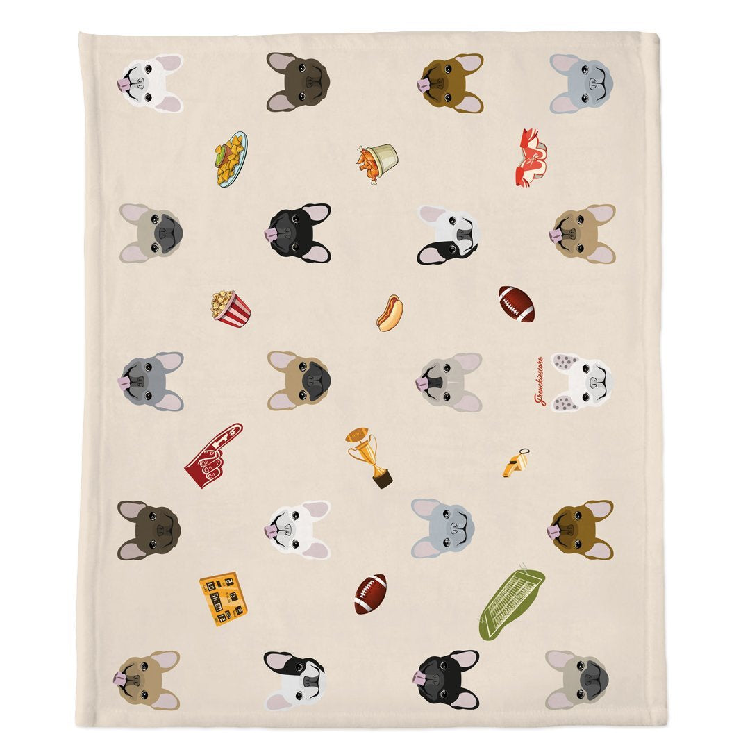 Frenchie Blanket | Frenchiestore | French Bulldogs & Football