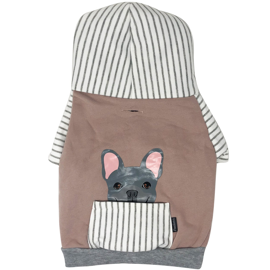 Sweat à capuche Bulldog français en gris | Vêtements Frenchie | Chien Frenchie bleu