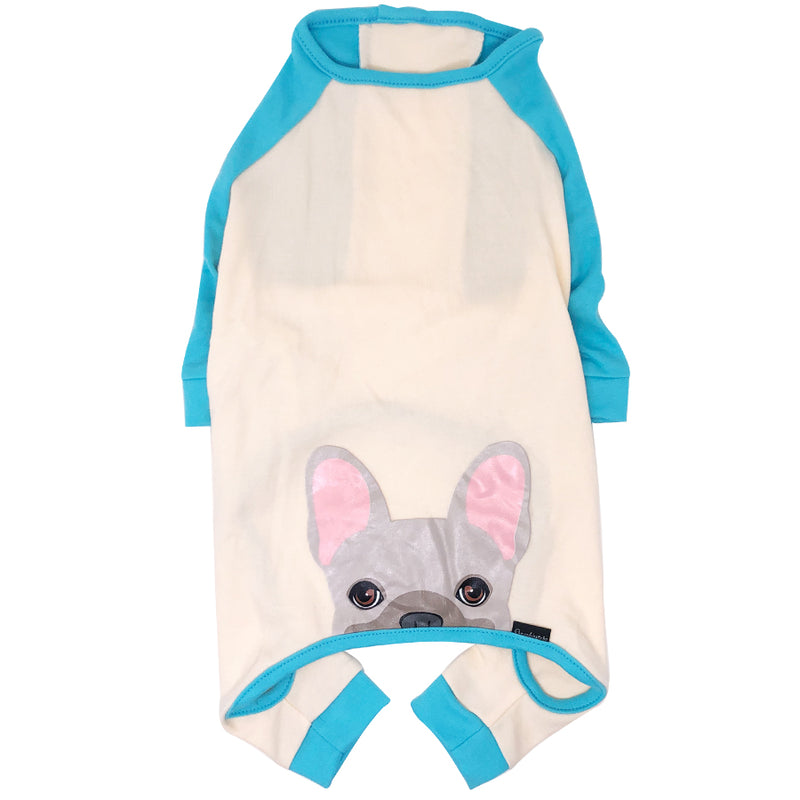 Pigiama Bulldog francese in Aqua | Abbigliamento Frenchie | Crema Frenchie Dog