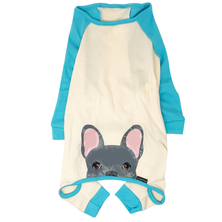 French Bulldog Pajamas in Aqua | Frenchie Clothing | Blue Frenchie Dog, Frenchie Dog, French Bulldog pet products