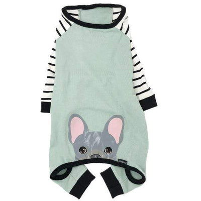 Frenchiestore organic dog pajamas with blue Frenchie bum