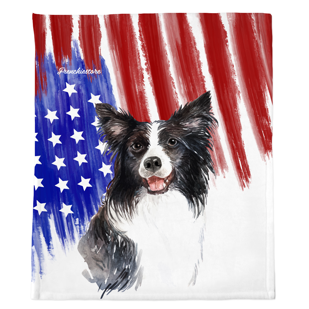 Patriotic Border Collie Blanket | American dog in Watercolors