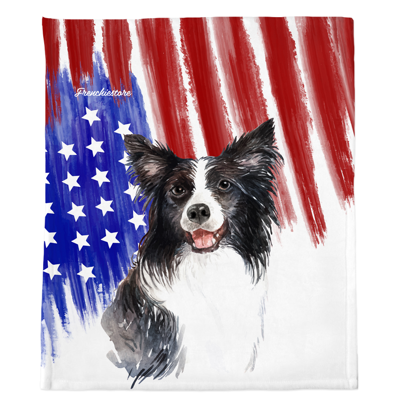 Patriotische Border Collie Decke | Amerikanischer Hund in Aquarellen