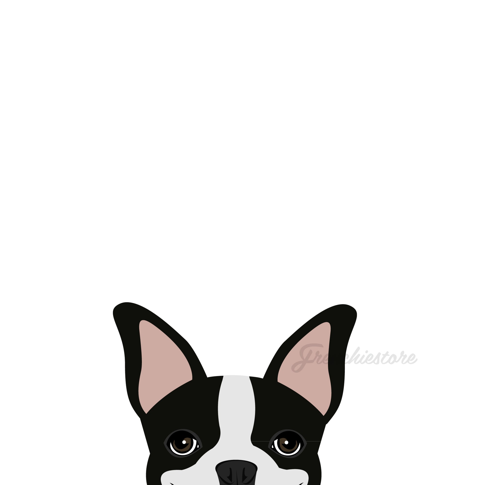 Etiqueta engomada del perro de Boston Terrier | Frenchiestore | Calcomanía de coche Black Pied Boston Terrier