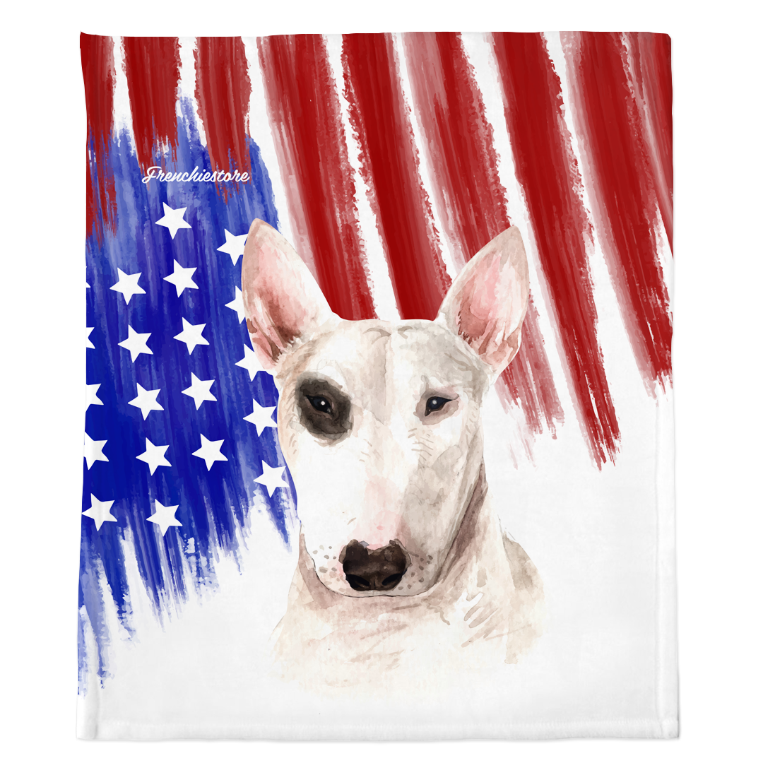 Patriotic Bull Terrier Blanket | American dog in Watercolors