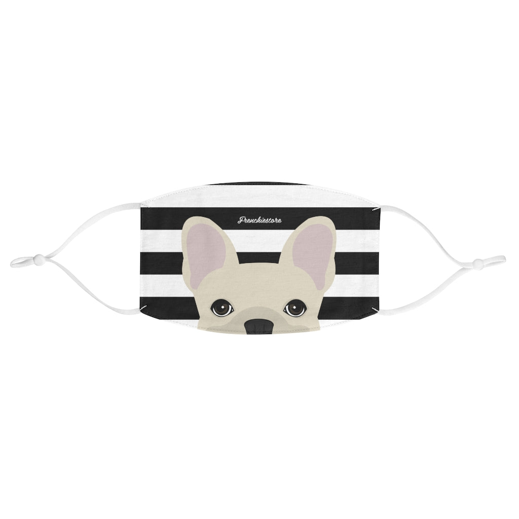 Cream Frenchie on Black Stripes Reusable Face Mask