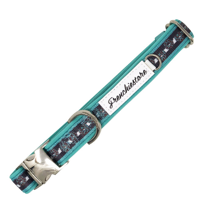 Frenchiestore Breakaway Hundehalsband | Frenchie Love in Teal
