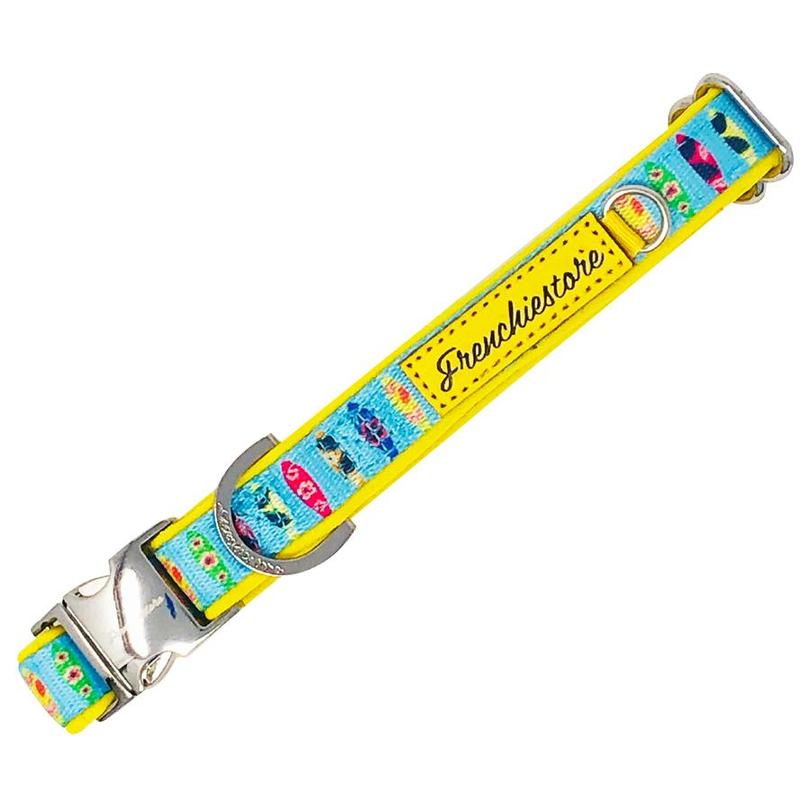 breakaway dog collars blue and yellow surf boards made by frenchiestore