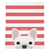 White French Bulldog on Coral Stripes | Frenchie Blanket