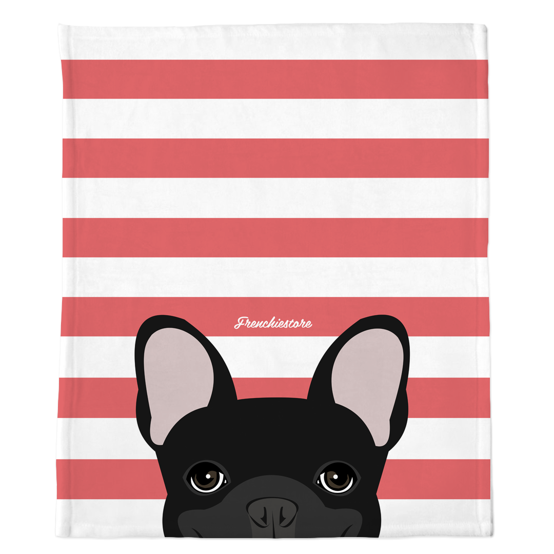 Black French Bulldog on Coral Stripes | Frenchie Blanket