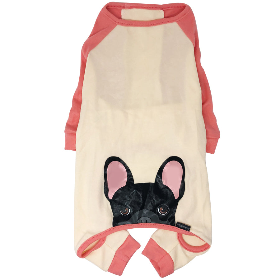 French Bulldog Pajamas in Coral | Frenchie Clothing | Black Frenchie Dog, Frenchie Dog, French Bulldog pet products