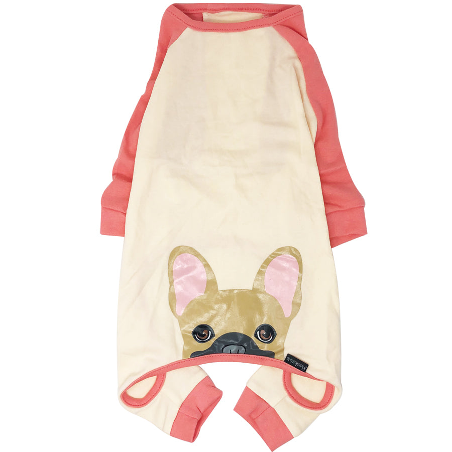 French Bulldog Pajamas in Coral | Frenchie Clothing | Fawn w Mask Frenchie dog