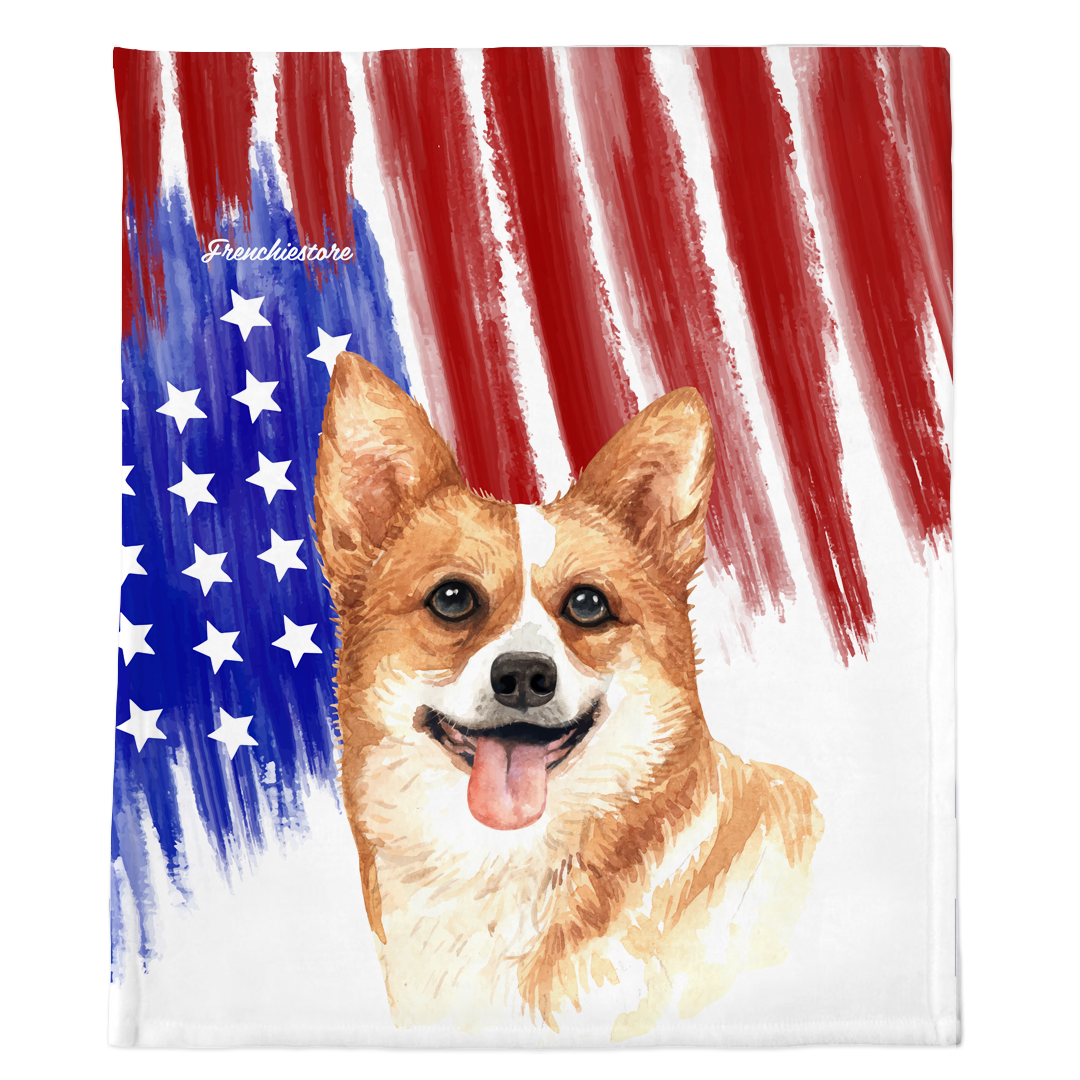 Patriotic Corgi Blanket | American dog in Watercolors