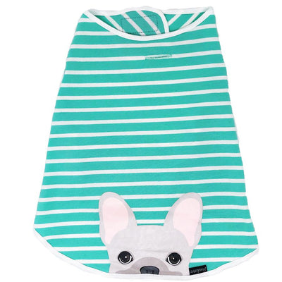 Camicia Frenchie | Frenchiestore | Bulldog francese crema in acquamarina