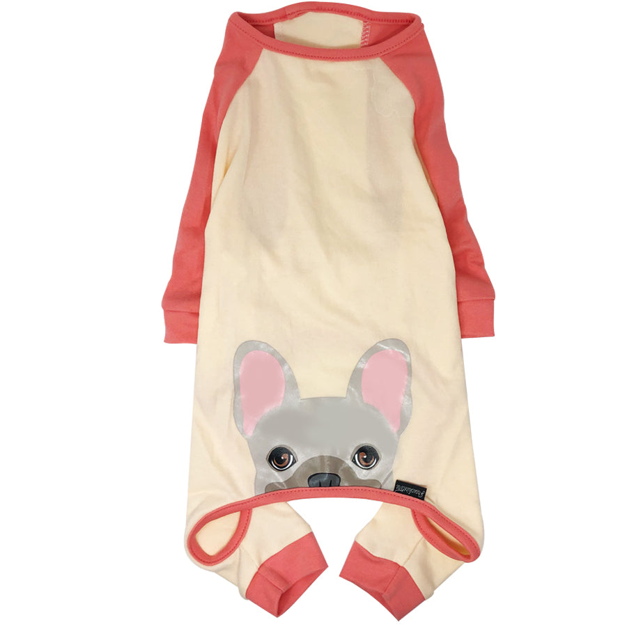 French Bulldog Pajamas in Coral | Frenchie Clothing | Cream Frenchie dog