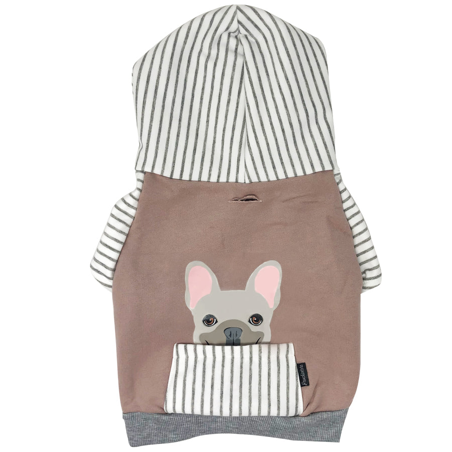 French Bulldog Hoodie in Gray | Frenchie Clothing | Cream Frenchie dog