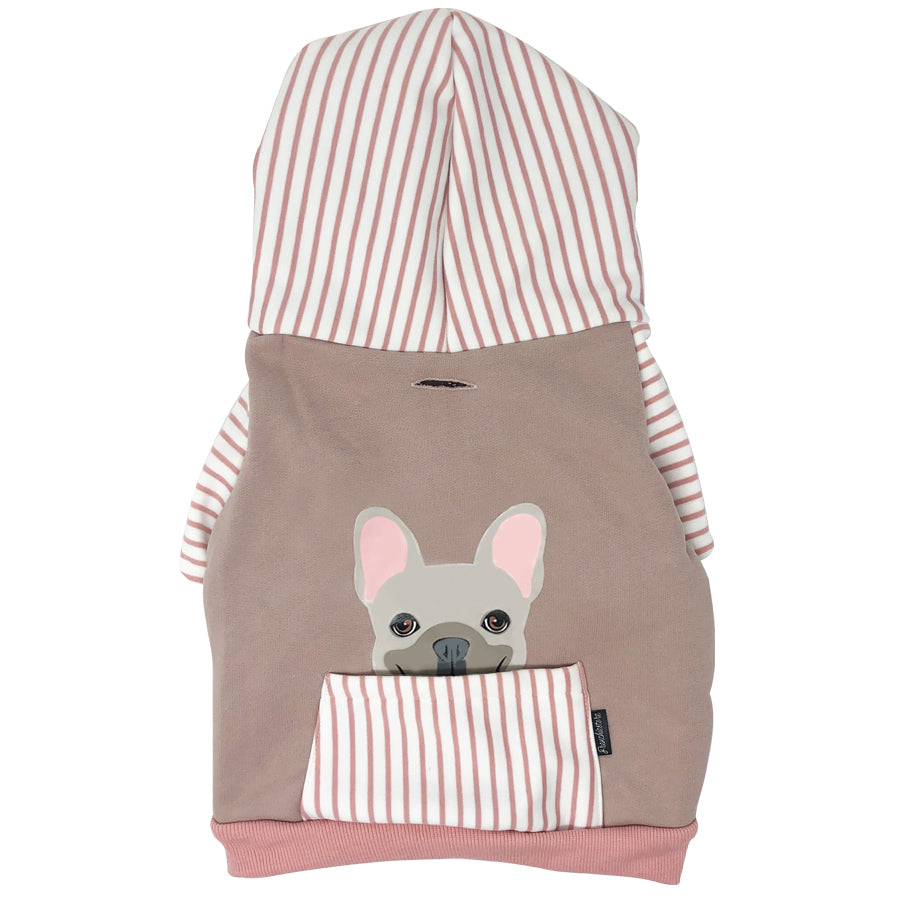 French Bulldog hoodie in pink | Frenchie Clothing | Cream Frenchie dog