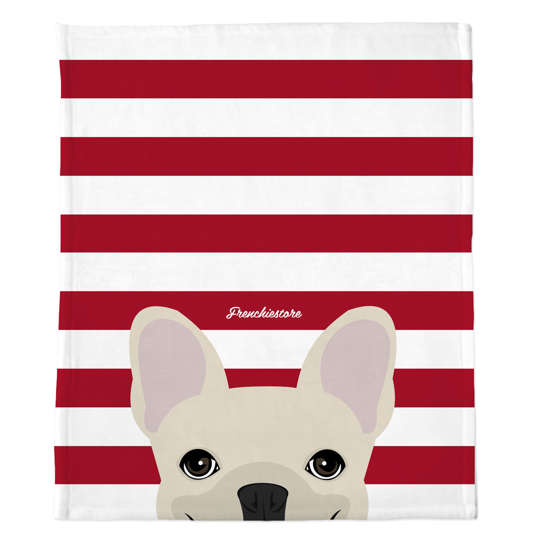 Manta Frenchie | Frenchiestore | Peeking Cream Bulldog francés sobre rojo