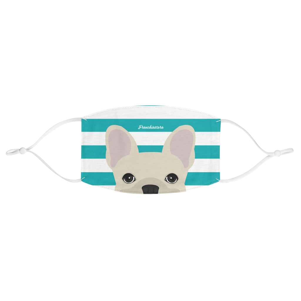 Cream Frenchie on Teal Stripes Reusable Face Mask, Frenchie Dog, French Bulldog pet products