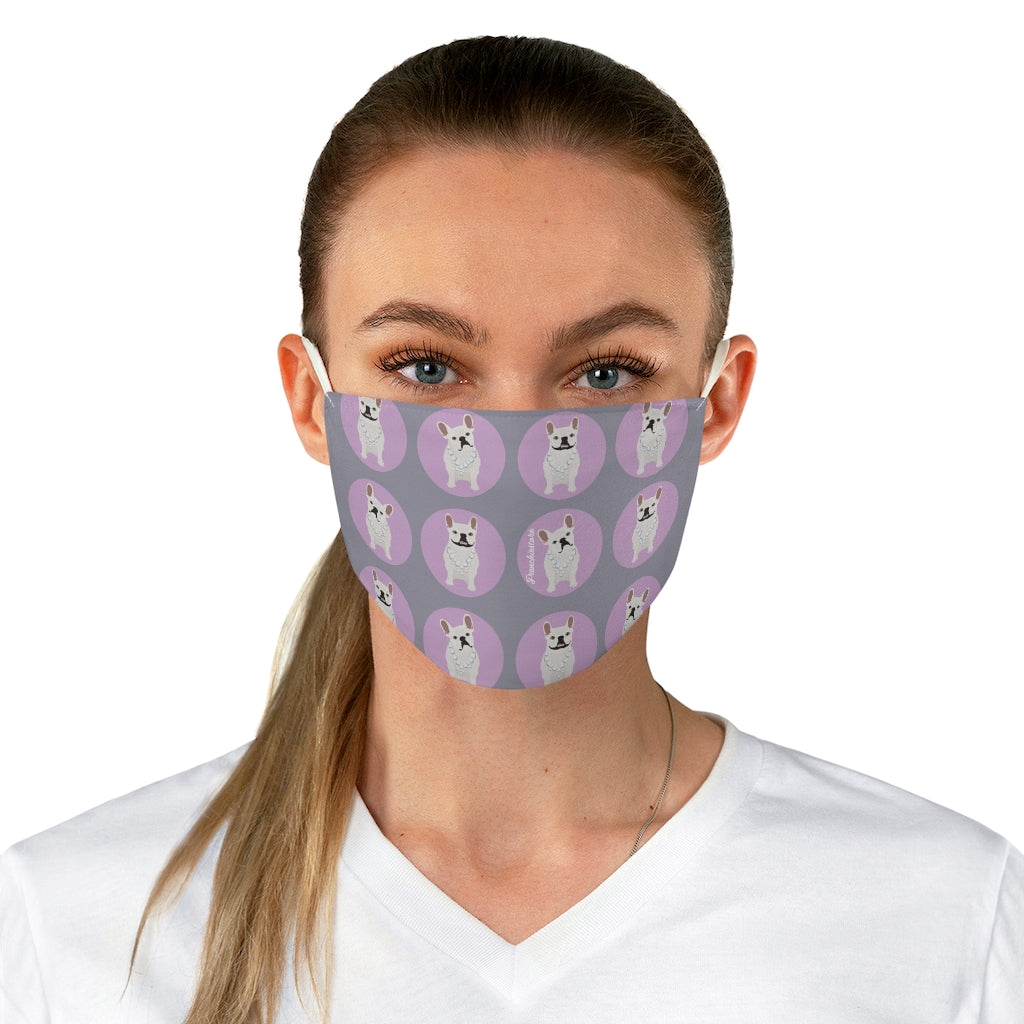 Cream Frenchie on Lilac Polka Dots Reusable Face Mask
