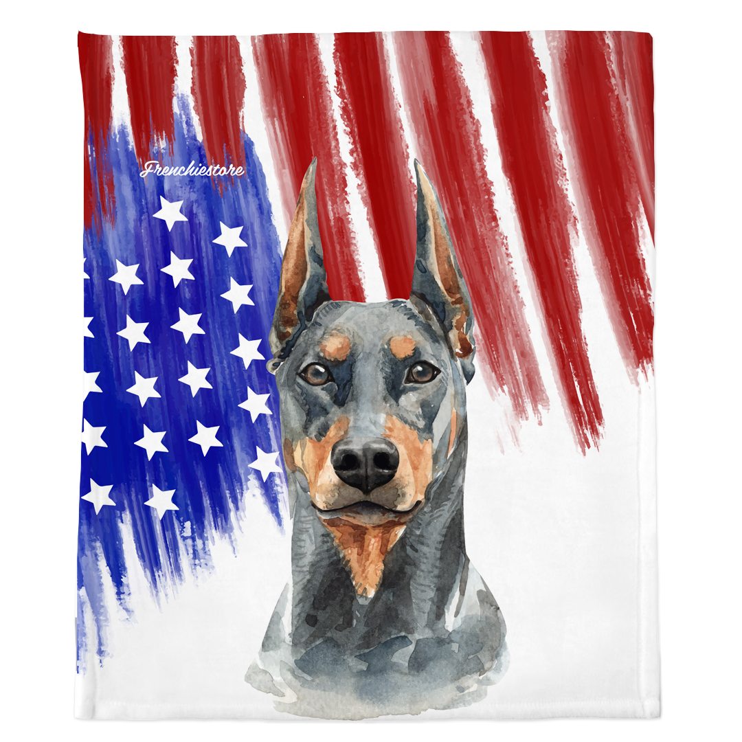Patriotic Doberman Pinscher Blanket | American dog in Watercolors