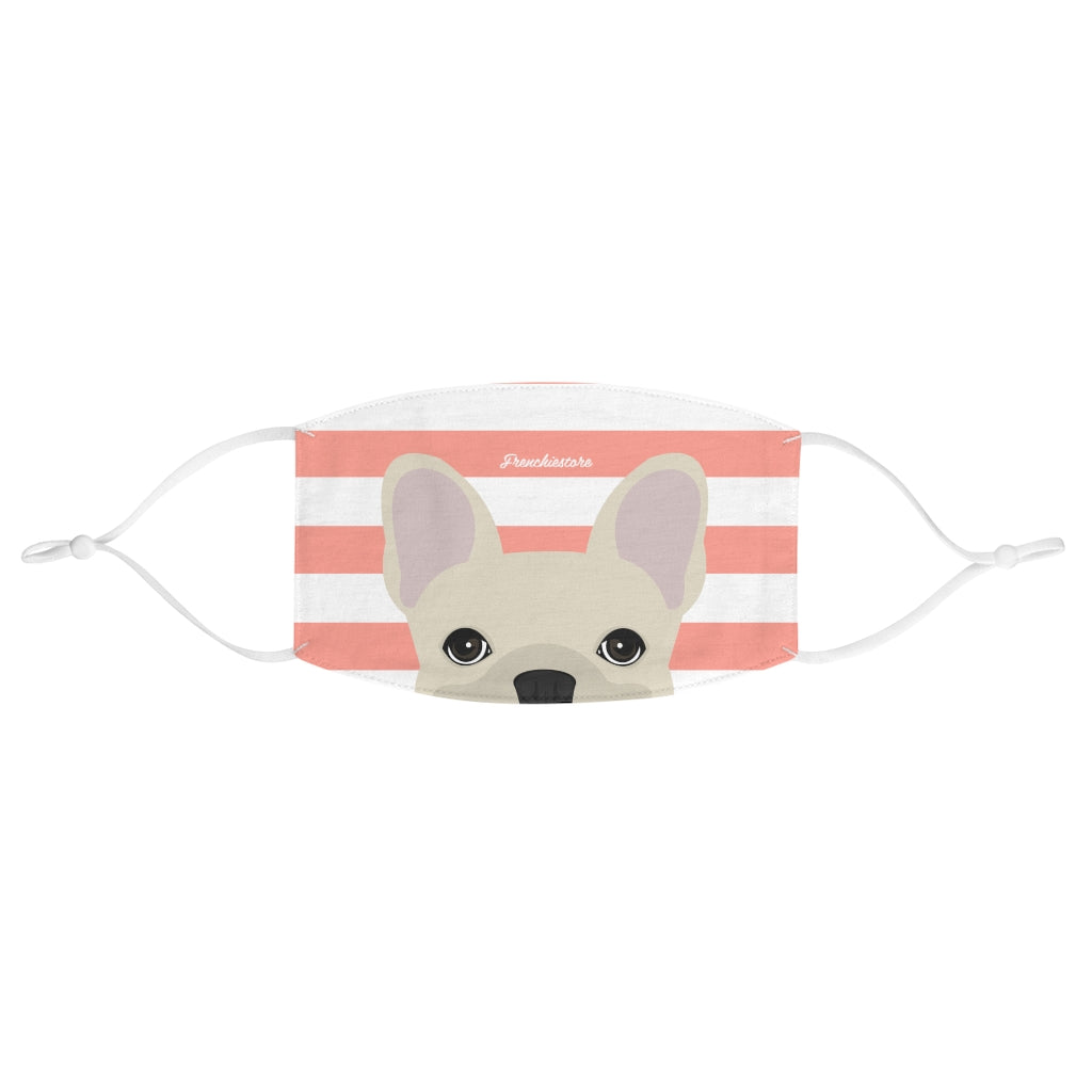 Cream Frenchie on Peach Stripes Reusable Face Mask