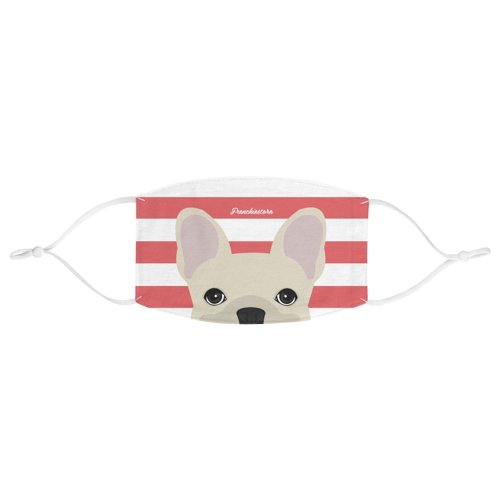 Cream Frenchie on Coral Stripes Reusable Face Mask