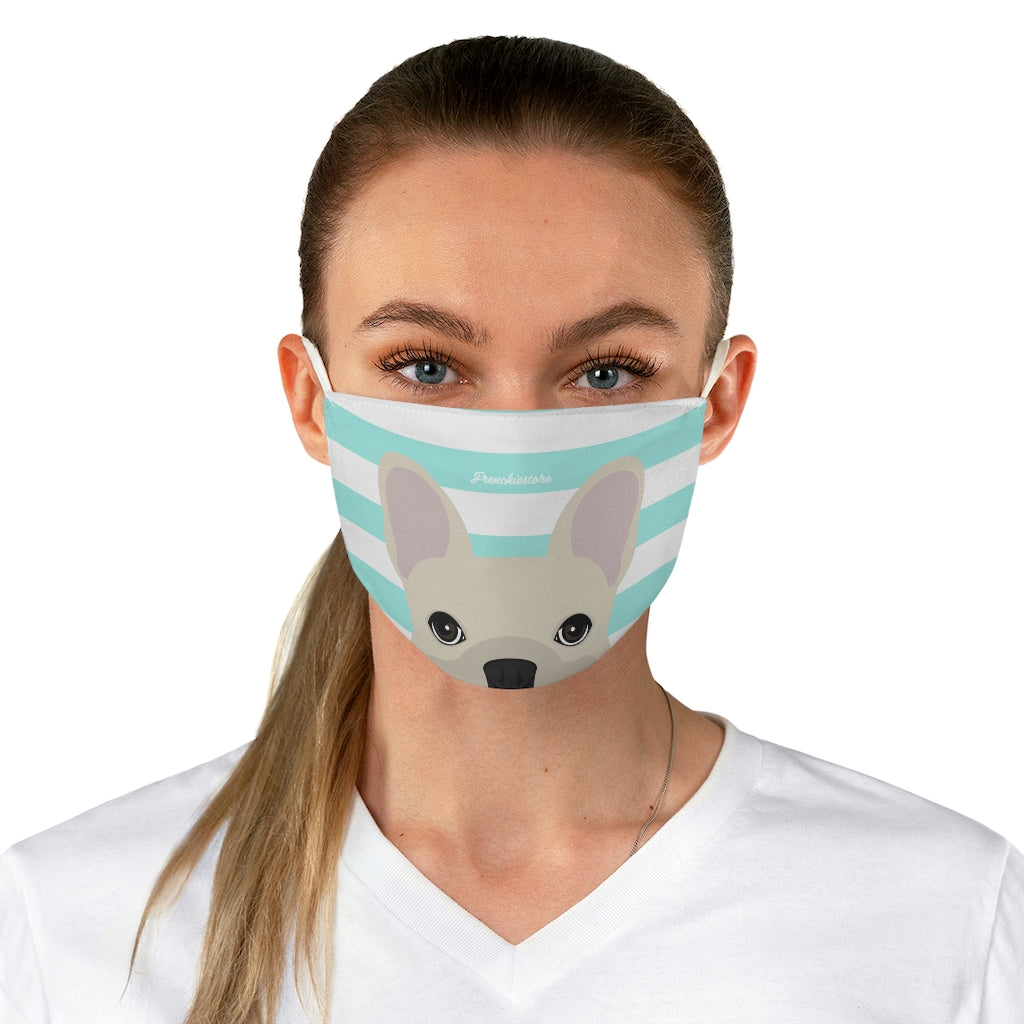 Cream Frenchie on Aqua Stripes Reusable Face Mask, Frenchie Dog, French Bulldog pet products