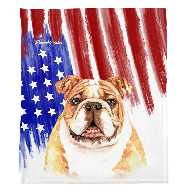 Patriotic English Bulldog Blanket | American dog in Watercolors