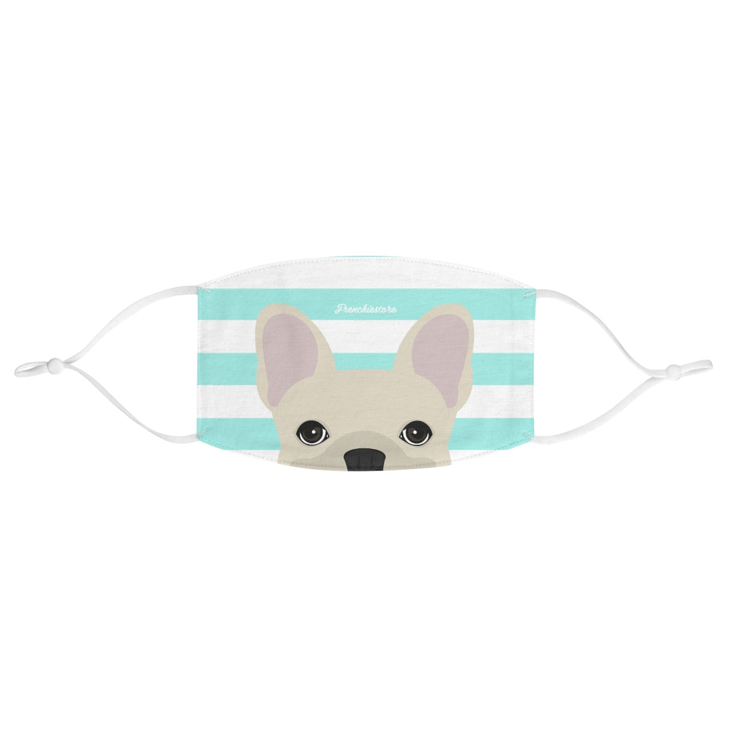Cream Frenchie on Aqua Stripes Reusable Face Mask
