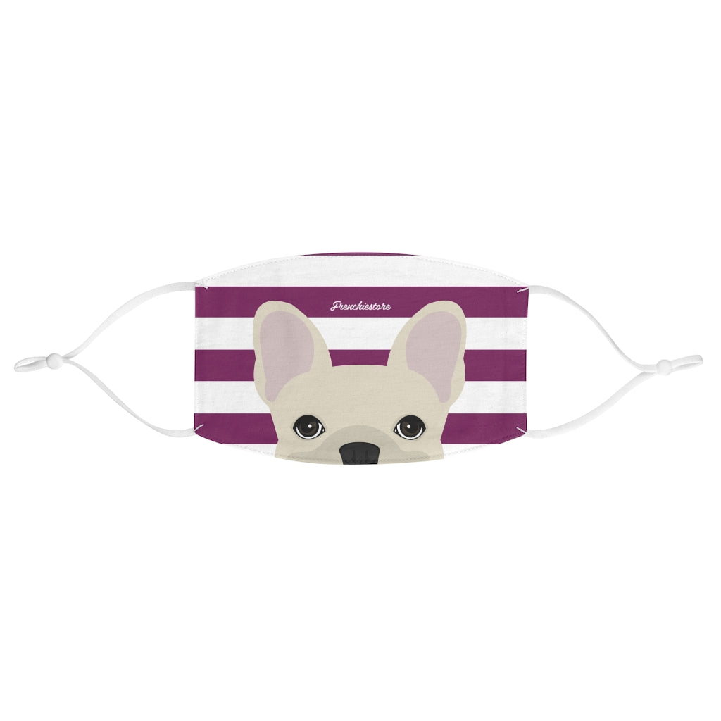 Cream Frenchie on Beet Stripes Reusable Face Mask, Frenchie Dog, French Bulldog pet products