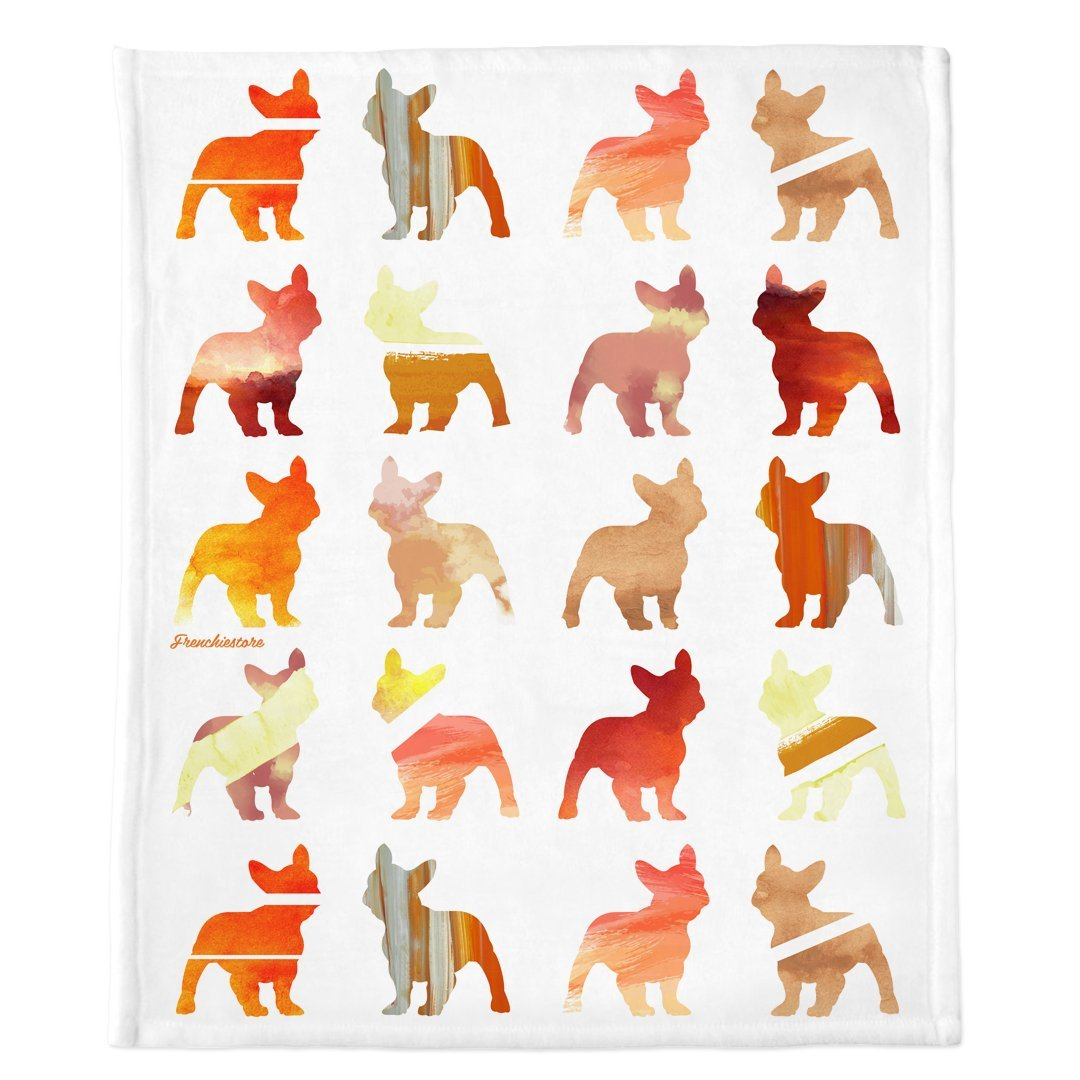 Frenchie Blanket | Frenchiestore | French Bulldogs in Fall Watercolors, Frenchie Dog, French Bulldog pet products