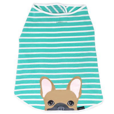 Camicia Frenchie | Frenchiestore | Bulldog francese fulvo in acquamarina