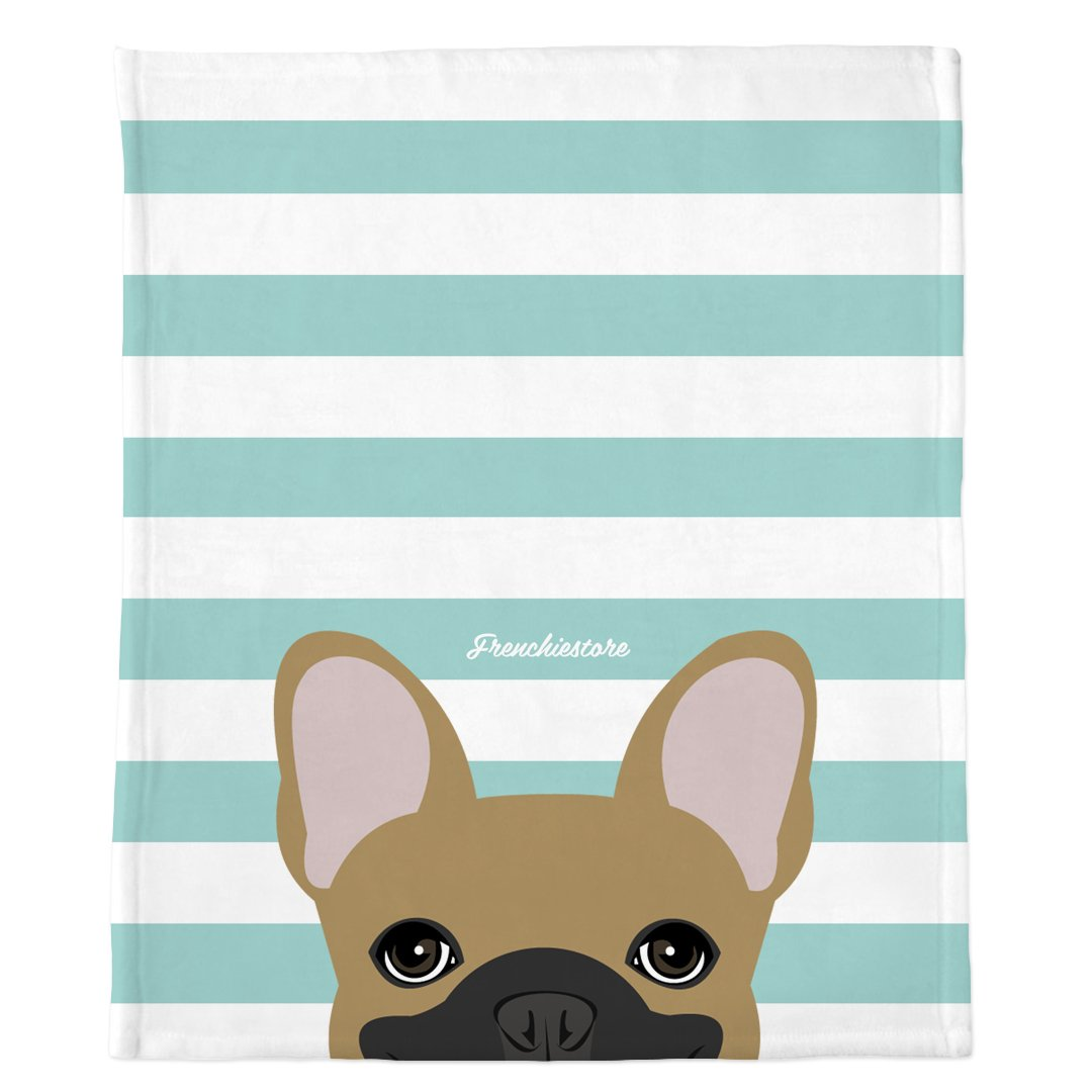 Frenchie Blanket | Frenchiestore | Peeking Fawn French Bulldog on Aqua