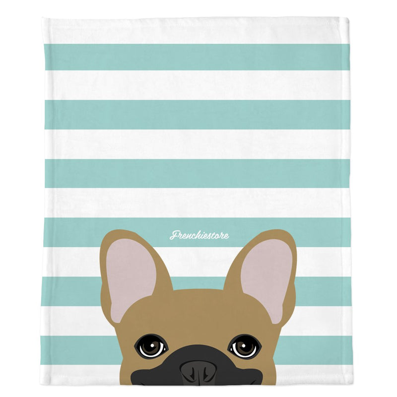 Coperta Frenchie | Frenchiestore | Sbirciando Fawn Bulldog francese su Teal