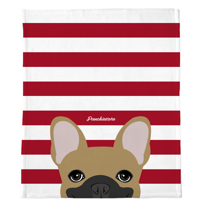 Masked Fawn French Bulldog on Red Stripes | Frenchie Blanket