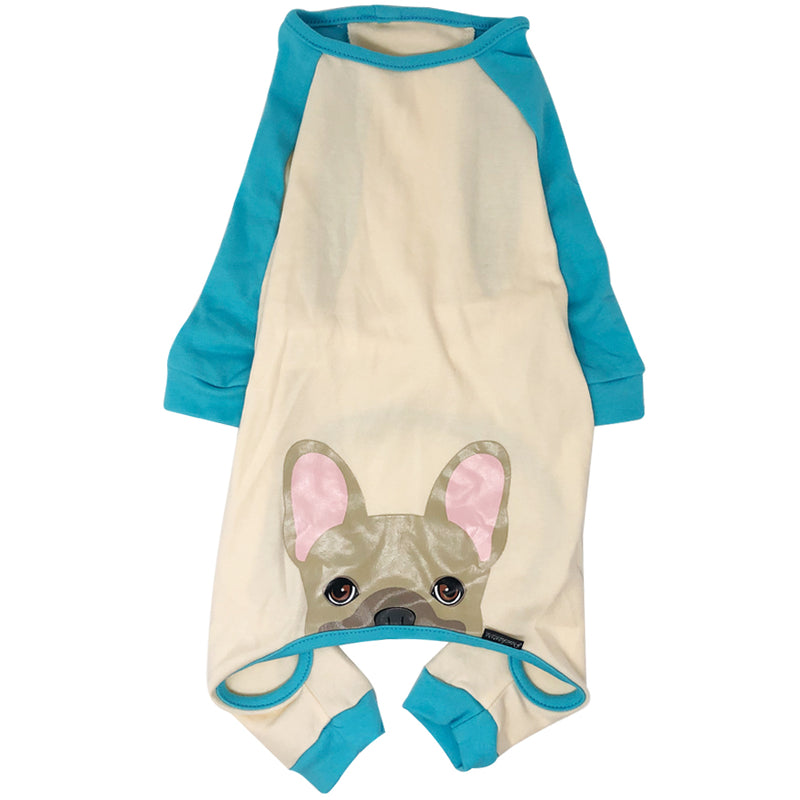 French Bulldog Pajamas in Aqua | Frenchie Clothing | Fawn Frenchie Dog
