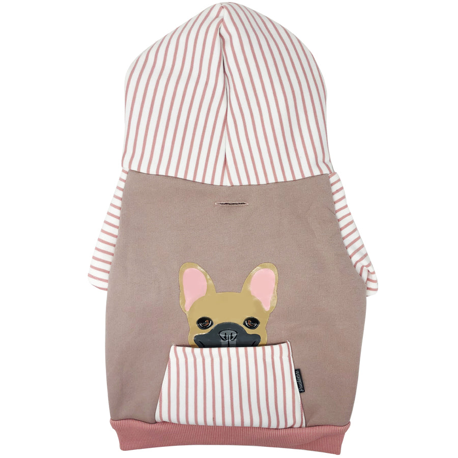Felpa con cappuccio Bulldog francese in rosa | Abbigliamento Frenchie | Fawn Frenchie dog
