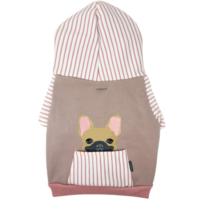 French Bulldog hoodie in pink | Frenchie Clothing | Fawn Frenchie dog