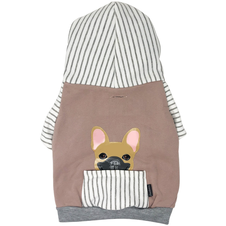 French Bulldog Hoodie in Gray | Frenchie Clothing | Fawn Frenchie dog