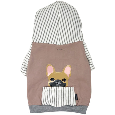 Sweat à capuche Bulldog français en gris | Vêtements Frenchie | Chien Frenchie fauve