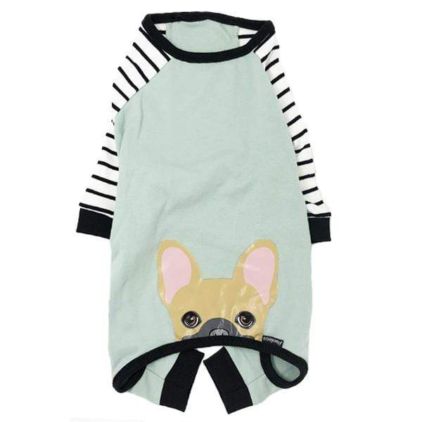 Frenchiestore organic dog pajamas with fawn Frenchie bum