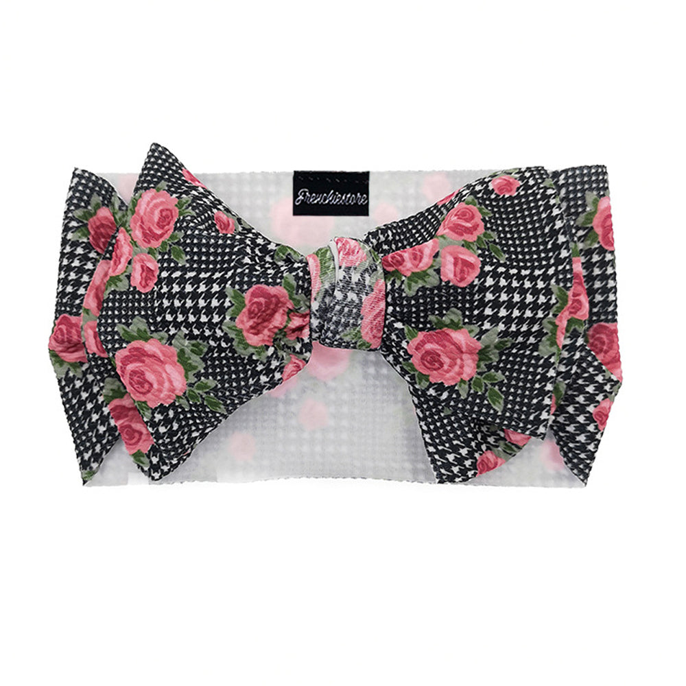 Frenchiestore Pet Head Bow | Floral Houndstooth