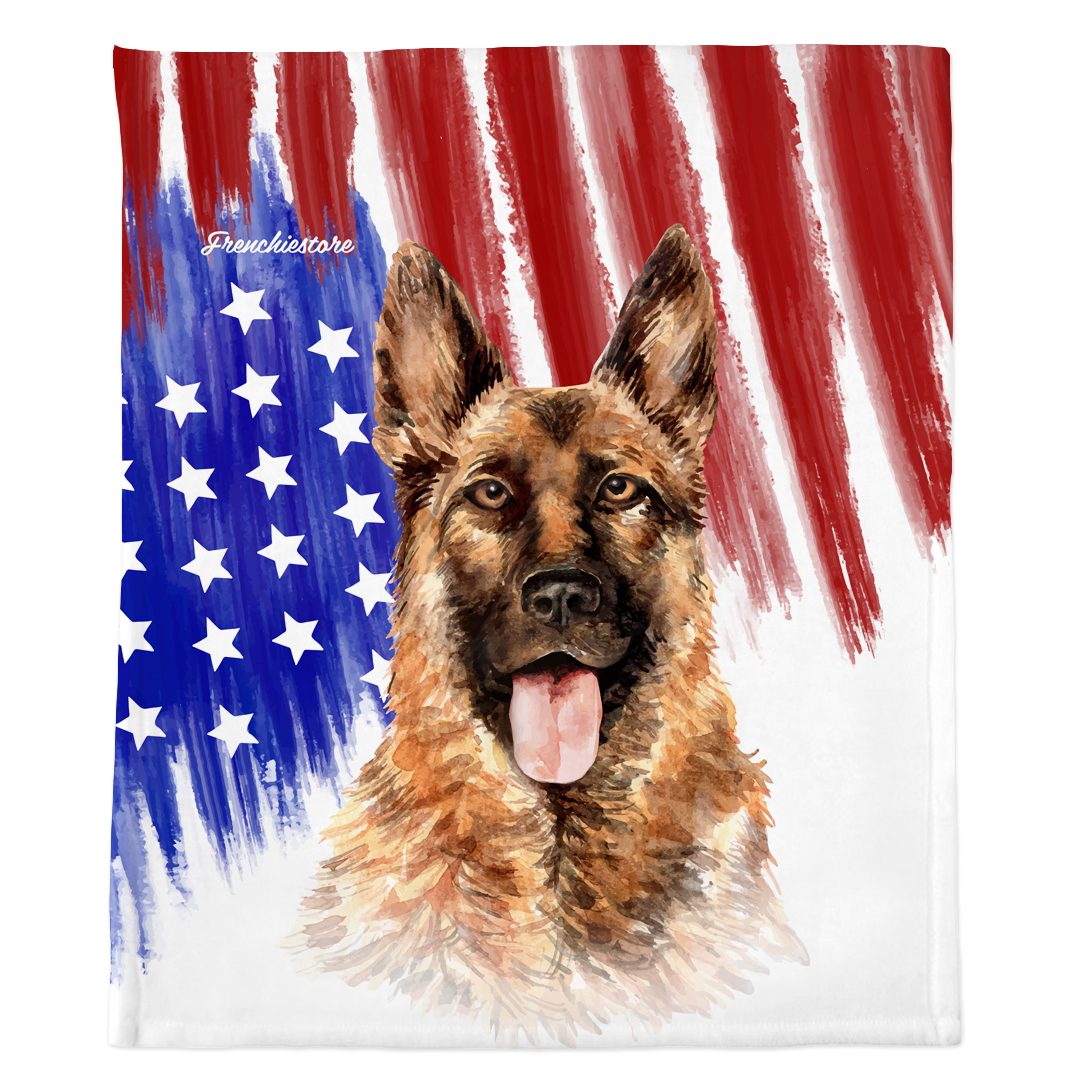 Patriotic German Shepherd Blanket | American dog in Watercolors
