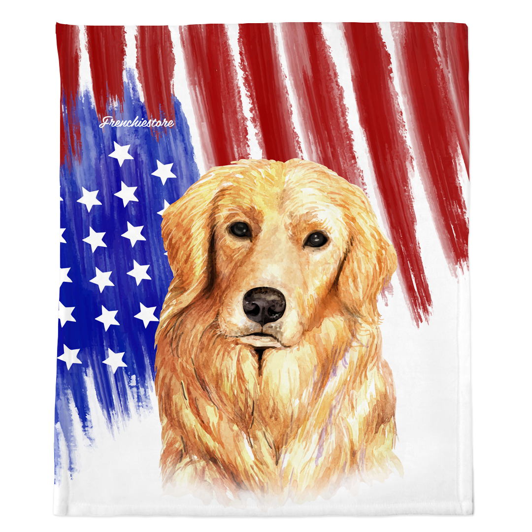 Golden Retriever Dog Blanket | Patriotic dog in Watercolors