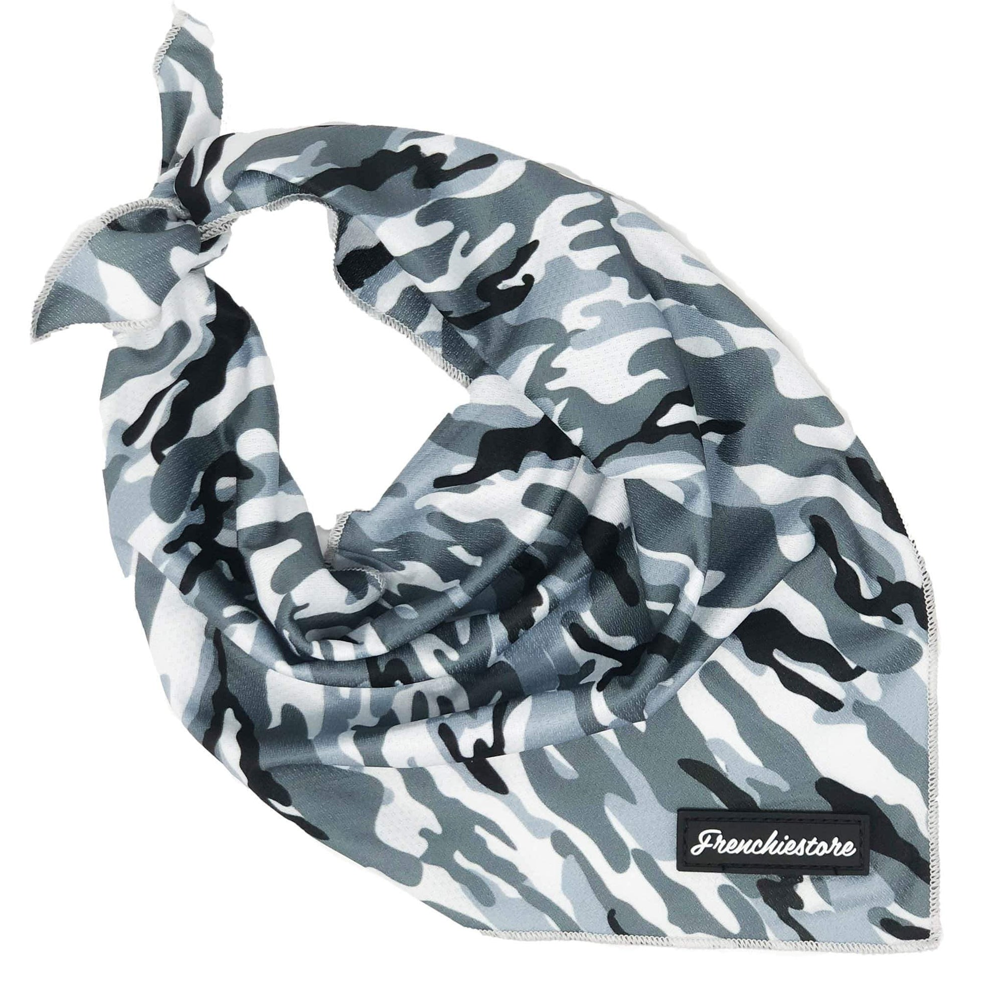Frenchiestore Dog Cooling Bandana | Gray Ultimate Camo, Frenchie Dog, French Bulldog pet products